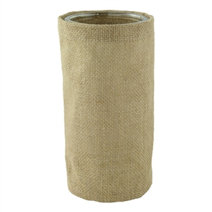 "8 1/4"" Round Burlap w/Glass, Natural Burlap,  Pack Size: 12"