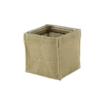 "4"" Square Burlap w/Glass, Natural Burlap,  Pack Size: 12"