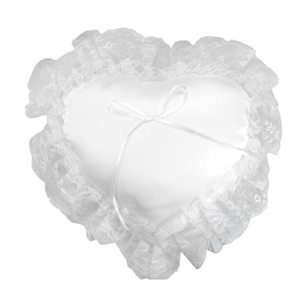 Heart Pillow, White Lace w/ Green Pkg,  Pack Size: 12