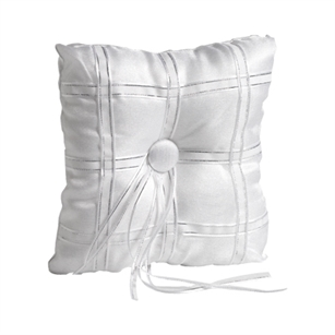 "6 1/2"" Square Pillow, Silver Ribbon,  Pack Size: 12"