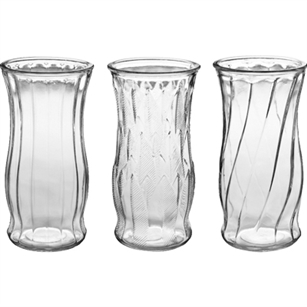 "9 3/8"" Rose Vase Asst., Crystal,  Pack Size: 12"