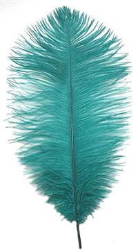 "Ostrich Drabs 14-16"" Dyed Teal - Per 1/2 lb"