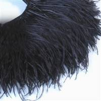 "Ostrich Feather Fringe 5-6"" - Black - 2 Yards"