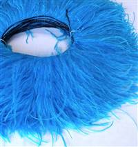 "Ostrich Feather Fringe 5-6"" Turquoise - 5 Yards"
