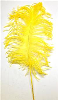 "Ostrich Tail Feathers 14-17"" Dyed Yellow - Per 1/2 lb"
