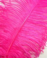 "Ostrich Wing Plumes #1 - 18-24"" Dyed Fuchsia - Per 1/4 lb"