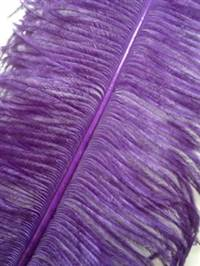 "Ostrich Wing Plumes #2 - 25-29"" Dyed Purple - Per 1/4 lb"