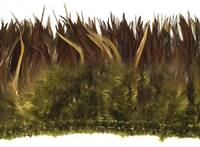 "Strung Rooster Saddles 6-7"" Dyed Olive Over Natural Red Per 1/2 lb"