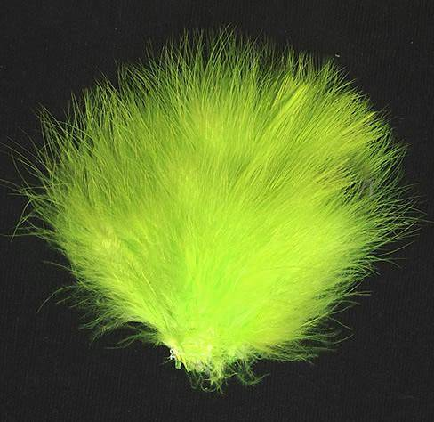 "Strung Turkey Marabou 3-4"" Dyed Fluorescent Chartreuse - Per 1/2 lb"