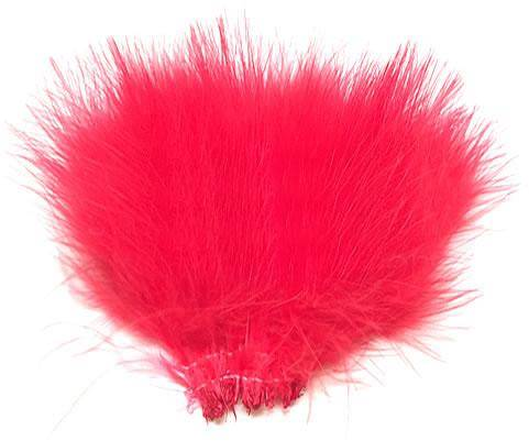 "Strung Turkey Marabou 3-4"" Dyed Fluorescent Red - Per 1/2 lb"