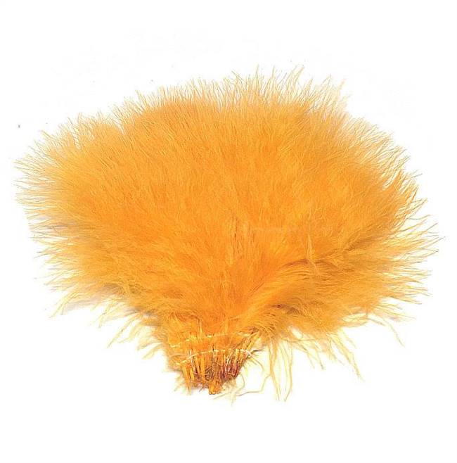 "Strung Turkey Marabou 4-5"" Dyed Carrot Gold (Ilima) - Per 1/2 lb"