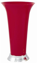 Plastic Trumpet Vase- Red w/ Silver Base
