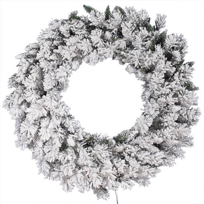 "42"" Flocked Snow Ridge Wreath 160T"