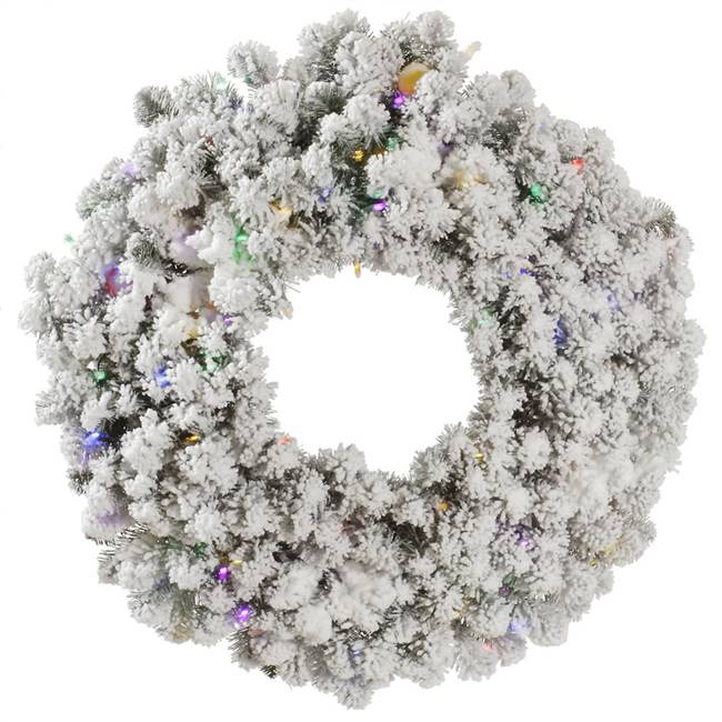 "36"" Flocked Kodiak Wreath 100Mu+15G40LED"