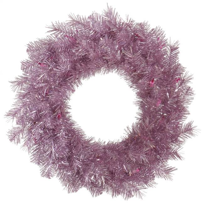 "48"" Orchid Pink Tinsel Wreath 300T"