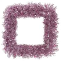 "30"" Orchid Pnk Tinsel Square Wreath 200T"