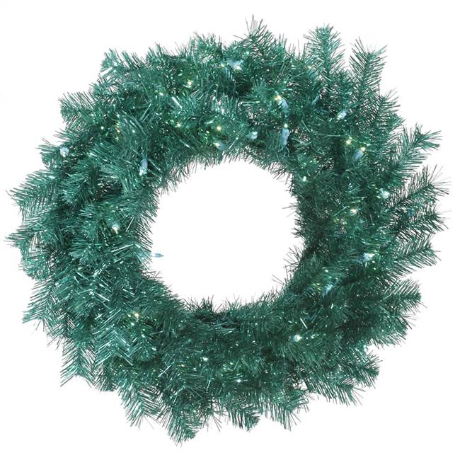 "36"" Aqua Tinsel Wreath 100Blue LED"
