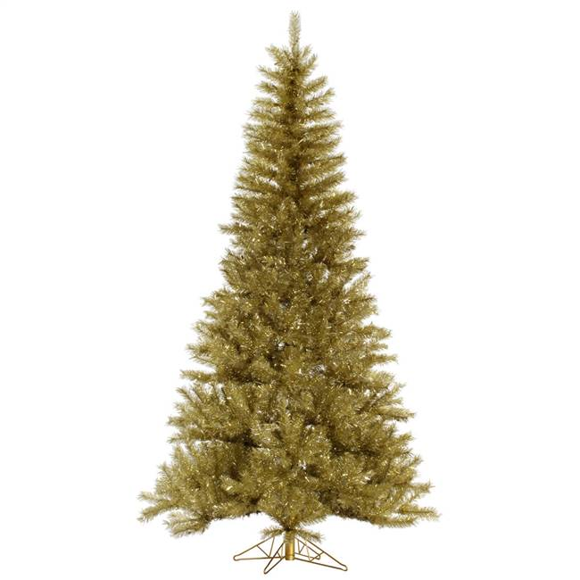 "4.5' x 27"" Gold/Silver Tinsel Tree 273T"