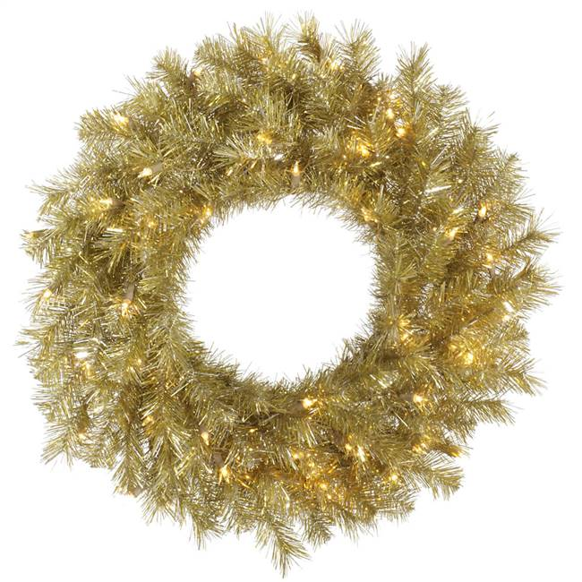"48"" Gold/Silver Tinsel Wreath 100WW LED"