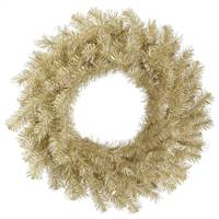 "24"" White/Gold Tinsel Wreath 120T"