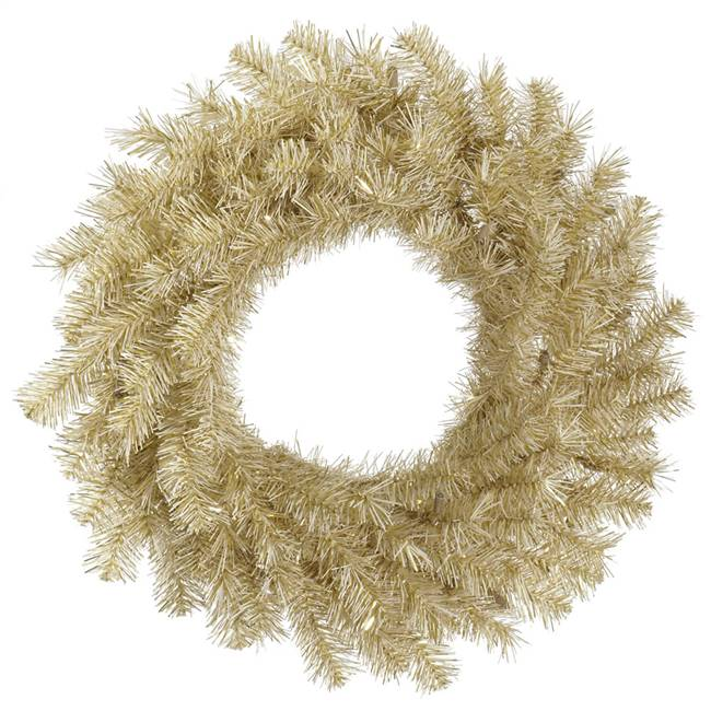 "48"" White/Gold Tinsel Wreath 300T"