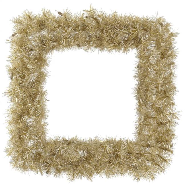 "30"" White/Gold Tinsel Square Wreath 200T"