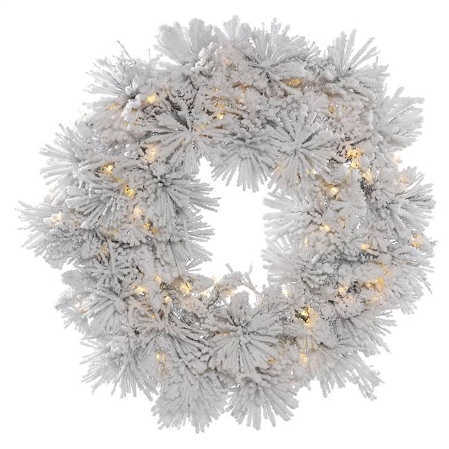"36"" Flk Alberta Wreath w/Cone 100LED WmW"