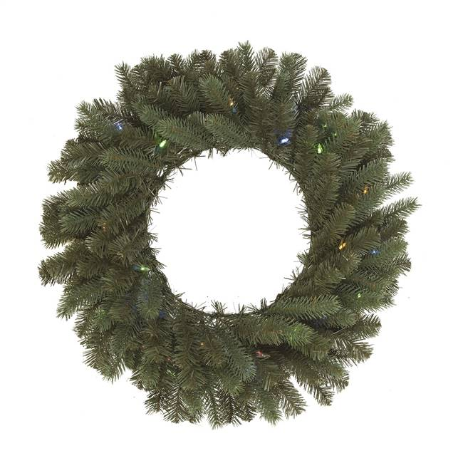 "36"" Colorado Wreath BO 70LED WmWht-Multi"