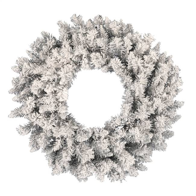 "36"" Frosted Silver Wreath 240Tips"