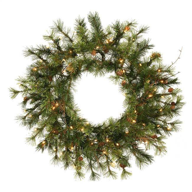"48"" Mixed Country Wreath 150WmWhtLED"