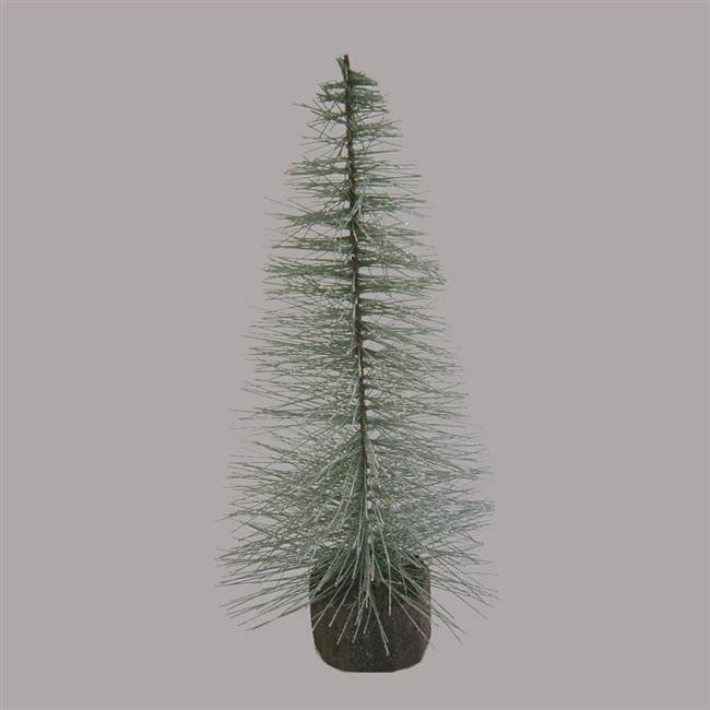"6"" Blue Spruce Frosted Village Tree Wood"