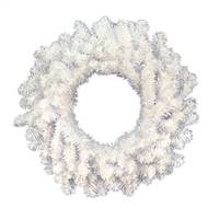 "24"" Crystal White Wreath 110 Tips"