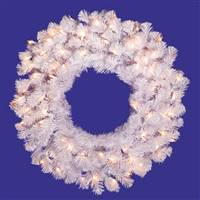 "24"" Crystal White Wreath Dura-Lit 50CL"