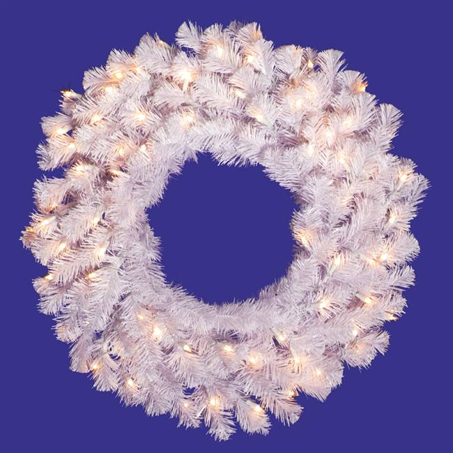 "36"" Crystal White Wreath Dura-Lit 100CL"