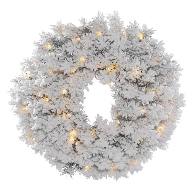 "48"" Flocked Alaskan Wreath Dura-Lit 150C"