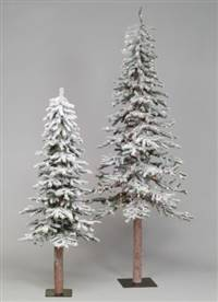 "6' x 34"" Flocked Alpine Tree 490T"
