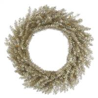 "24"" Champagne Tinsel Wreath 260Tips"