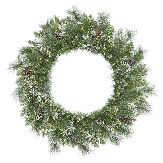 "30"" SnowTip Pine Wreath DL 50LED WmWht"