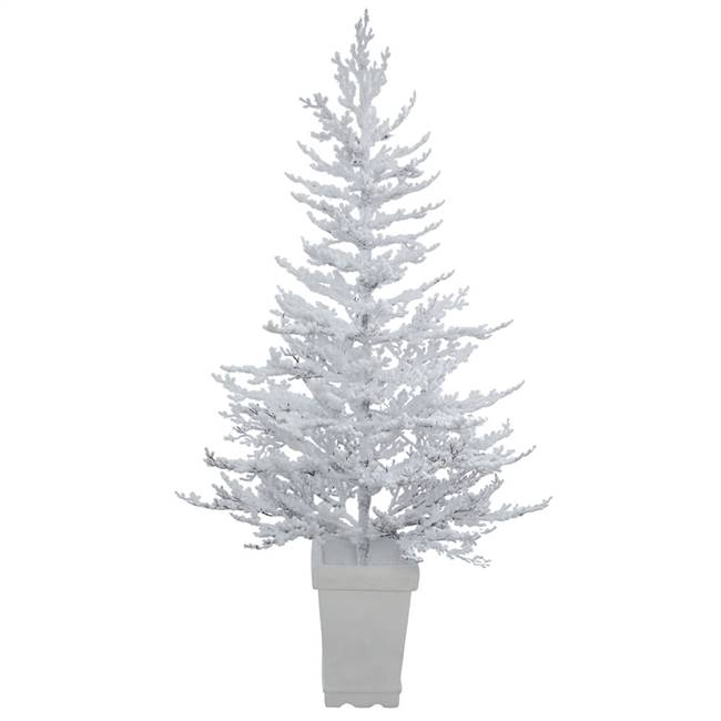 "5' x 42"" Potted Flocked Winter Twig Tree"