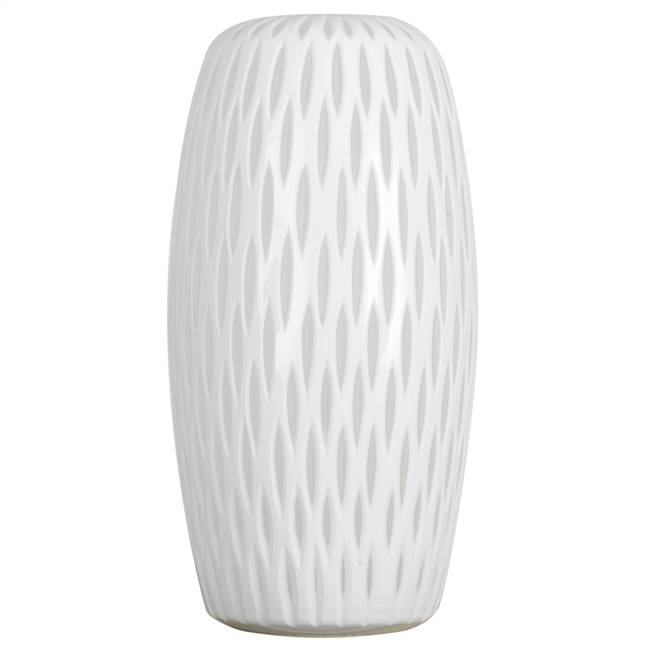 "13"" White Frosted Glass Vase"