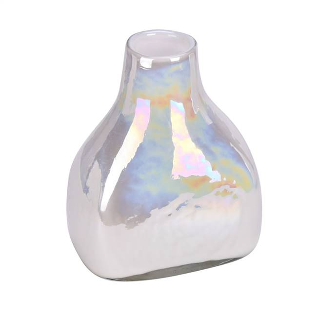 "8"" White Enamel Glass Bottle Vase"