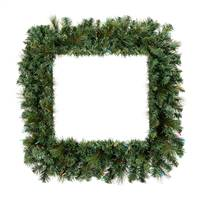 "30"" Mixed Brussels Pine Sq Wreath 150T"