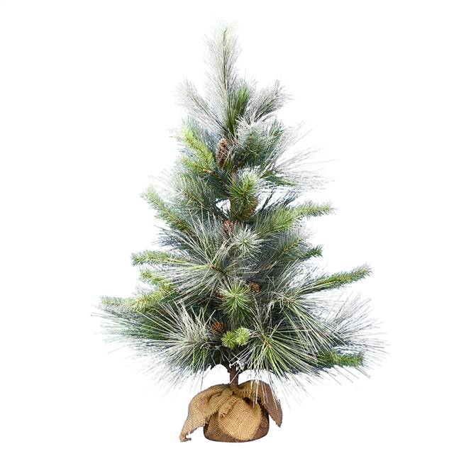 "36"" Frosted Myers Pine Tree Burlap Base"