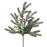 "18"" Frst Hemlock-Boxwood Berry Spray 11T"