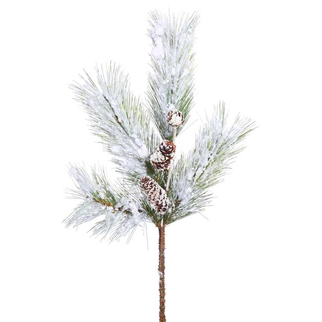 "18"" White Pine Spray w/Snow-Cones 4Tips"
