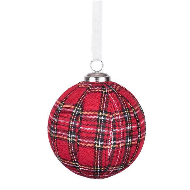"3.25"" Red Plaid Ball Ornament"