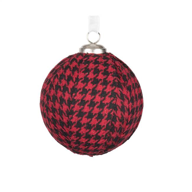 "3.25"" Red/Black Houndstooth Ball Ornamen"