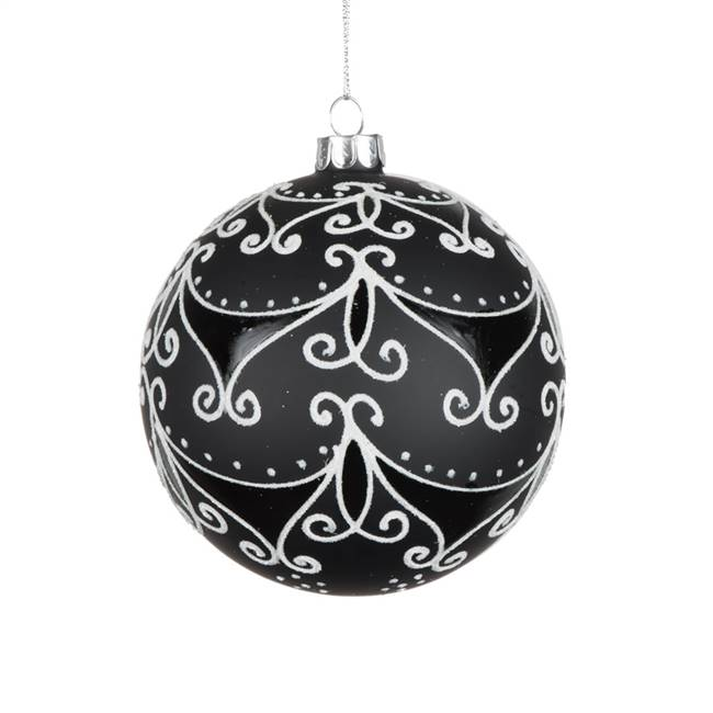 "4"" Black/White Glass Ball Ornament"