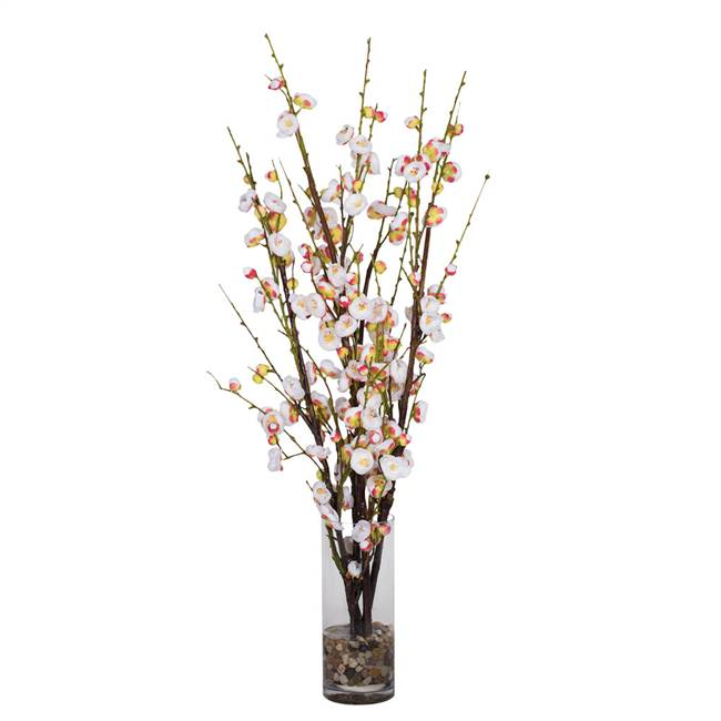 "35"" White Cherry Blossom in Cyclinder"