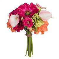 "12"" Poppy/Dahlia/with Pink Calla Bouquet"